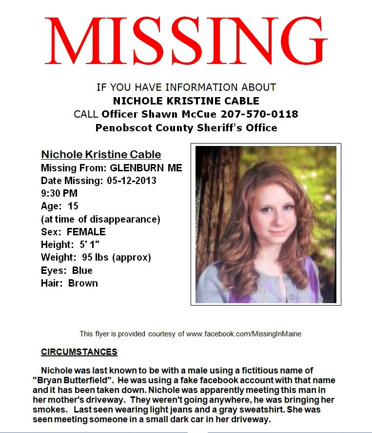 Help Find Missing Nichole Cable