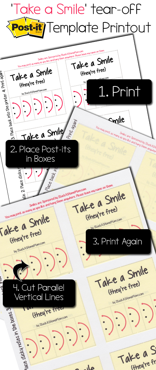 Take a Smile tear-off Post-It Note Template Printout#postit @postitproducts
