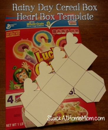 Cereal Box Heart Box Template Printable #rainyday #bored #vacation