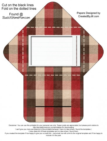 Self Closing Envelope Printable Pattern: Christmas Plaid (Digital Scrapbooking)