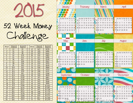 NEW 2015 -52 Week Money Challenge 2015 -  Printable!  Get a jar and each week put in the amount listed. It starts with one buck and goes up by one more each week. By the last week of the year you will have $1,378.00!!! Print and stick the chart right into the big jar, or tape onto it so it wont get lost. Fun and pretty do-able!