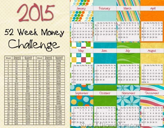 2015 - 52 Week Money Challenge Calendar - @stuckathomemom