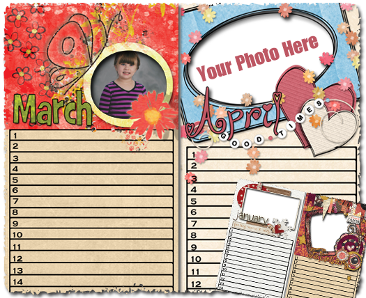 Forever Printable Photo Calendars - March & April