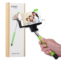 Selfie Stick, NOOT PRODUCTS® Self Portrait [Battery Free] Extendable Handled Stick with Adjustable Phone Holder & Built-in Remote Shutter Designed for Apple, Android Smartphones - Green