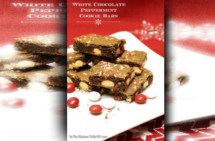 13 White Chocolate Peppermint M&MS Cookie Bars #HolidayBaking READY