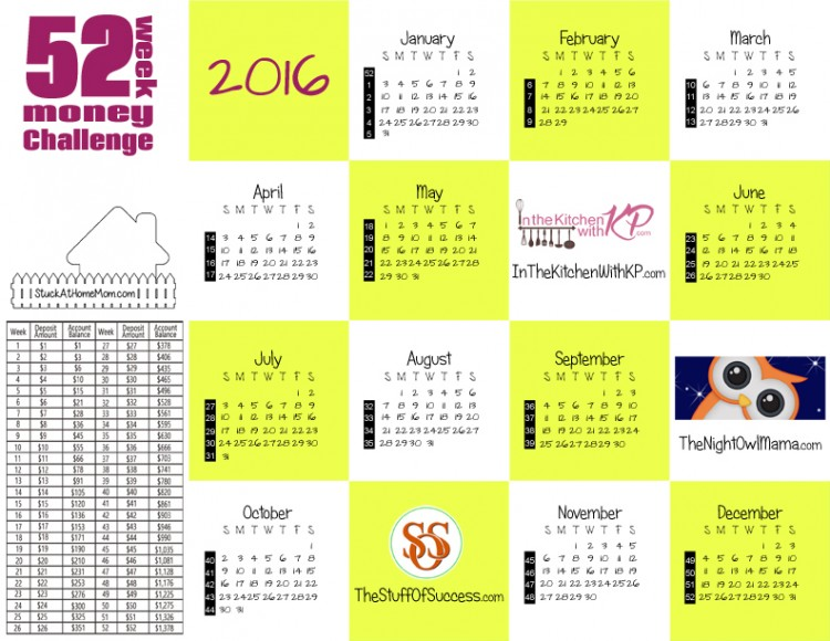 2016 Money Challenge Calendar Printable - Save $1378.99