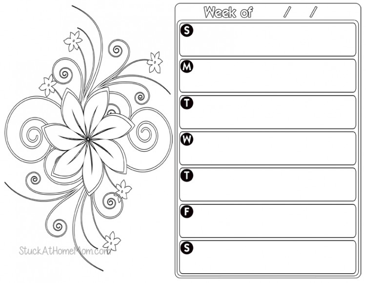free weekly planner color page 2 printout calendar
