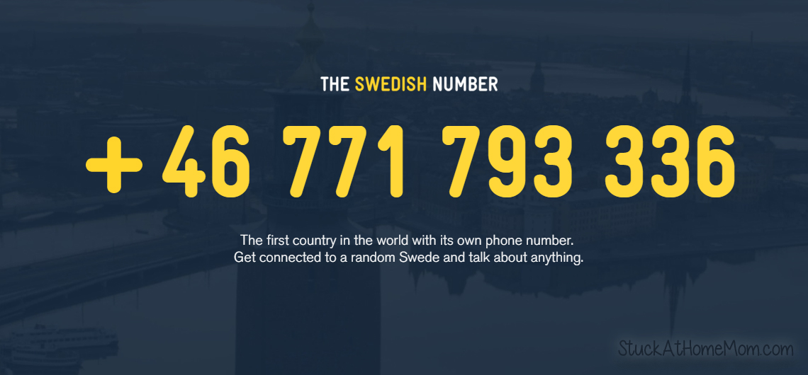 Call Sweden and talk to a totally random Swede +46 771 793 336
