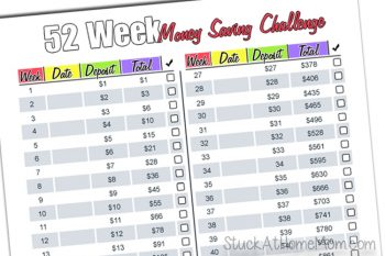 52 Week Money Challenge 2017 Printable – Are You Game?