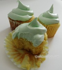 Lemon Greek Yogurt Cupcakes with Lime Jello Frosting
