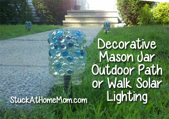 Decorative Mason Jar Outdoor Path or Walk Solar Lighting