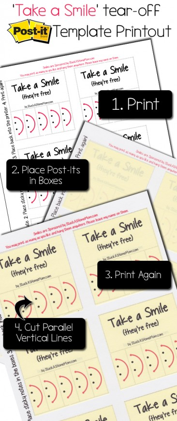 """Take a Smile"" Post-It Note Template Printout #postit @postitproducts"