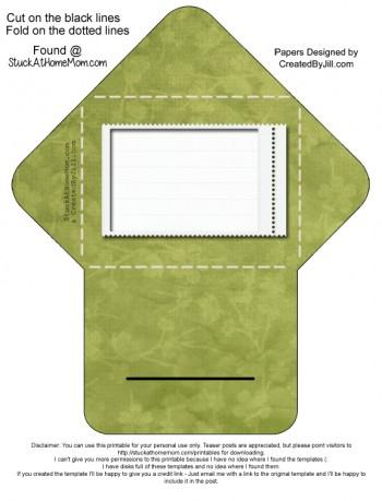 Self Closing Envelope Printable (Digital Scrapbooking) Pattern: Green Floral