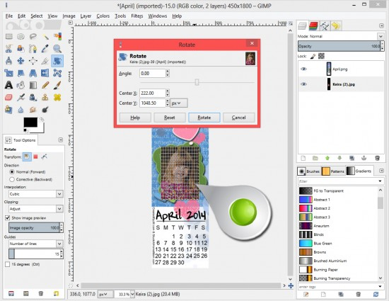 Layer and Size images in GIMP