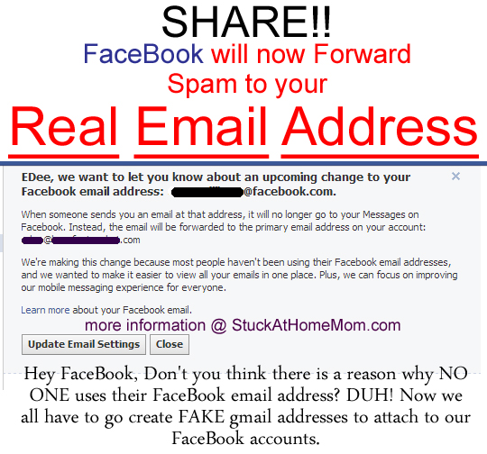 FaceBook will now forward all @FaceBook Spam to your Real Email Address