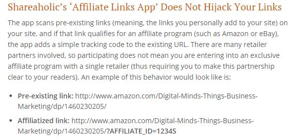 Shareaholic hijacking links