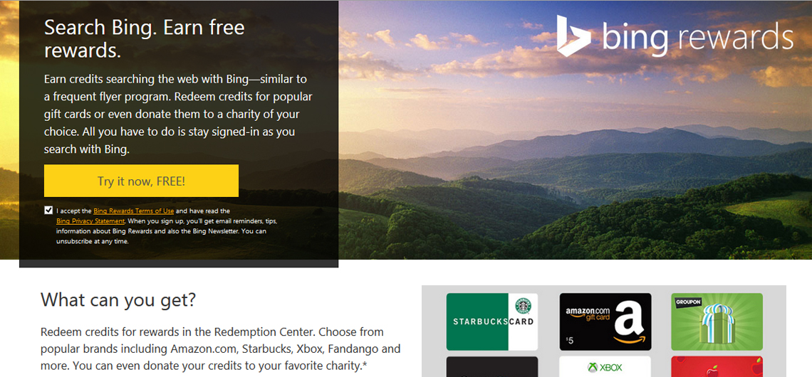 Bing Rewards - Earn credits for searching with Bing