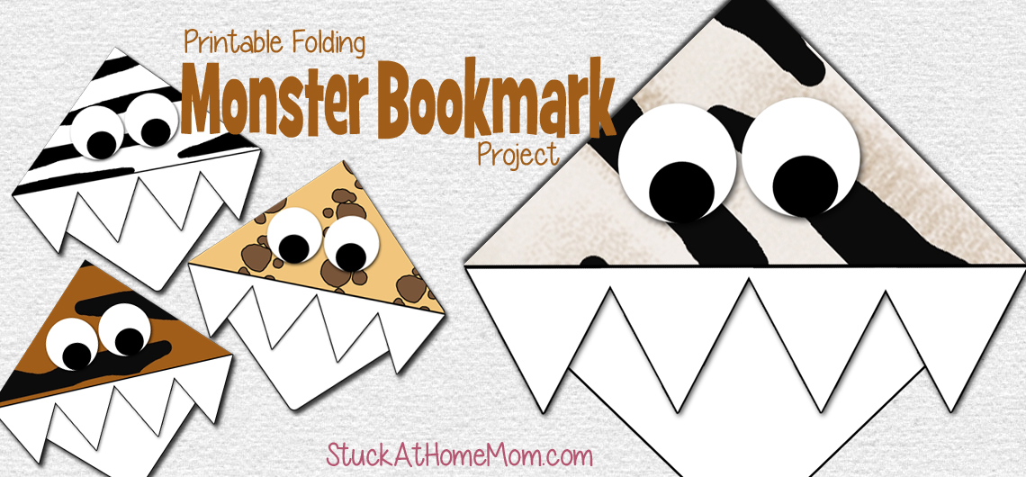 Printable Folding Monster Bookmark Project