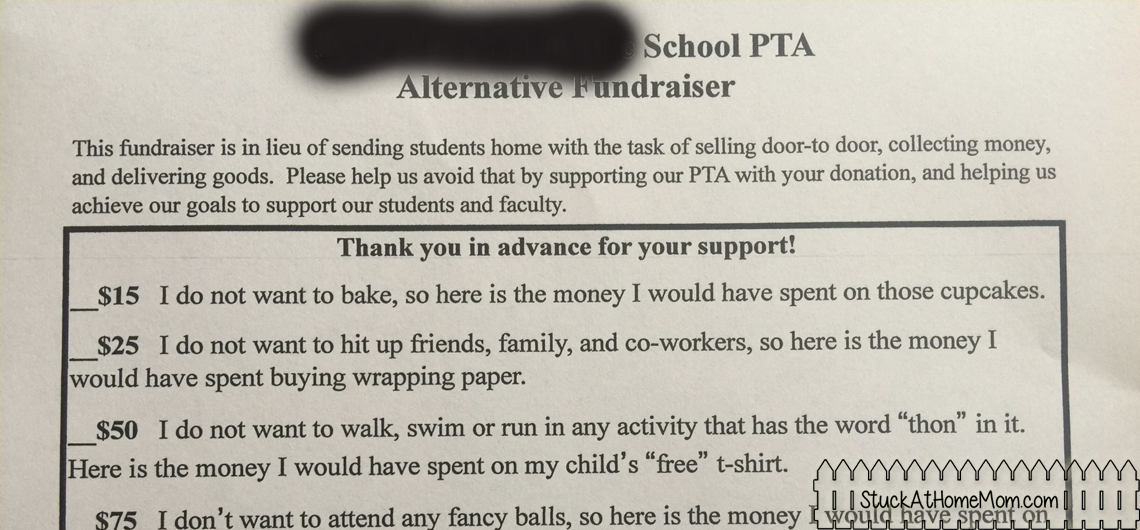 Alternative Fundraiser for PTA – Printable!