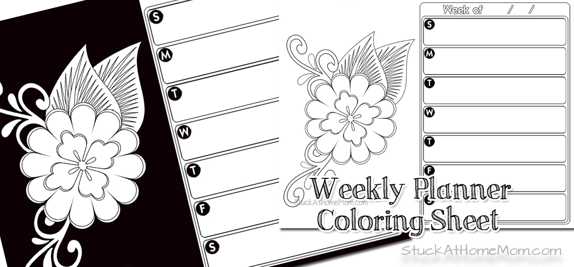 Weekly Planner Coloring Sheet