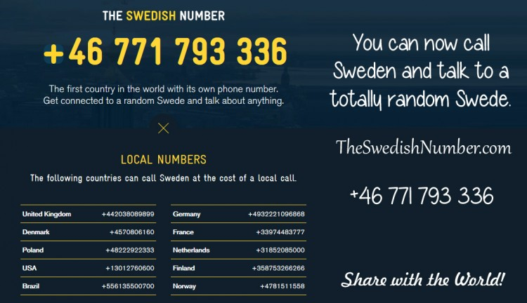 Call Sweden and talk to a random Swede +46 771 793 336