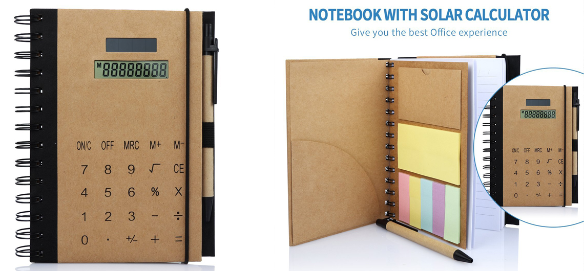 Hardcover Spiral Notebook with Solar Powered Calculator Sticky Notes