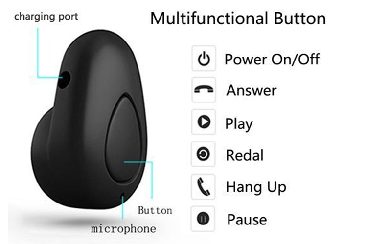 Mini Bluetooth Wireless Invisible Earbud with Microphone Support Hands-free for Smartphone