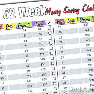 52 Week Money Saving Challenge 2017 Printable – Are You Game?