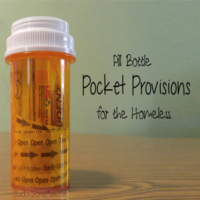 Easy Pay It Forward Pill Bottle Pocket Provisions for the Homeless