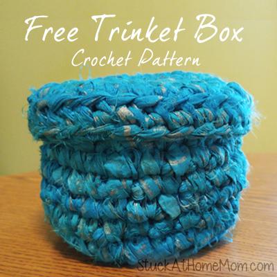 Free Trinket Box Crochet Pattern made with Indian Brushstroke Sari Silk