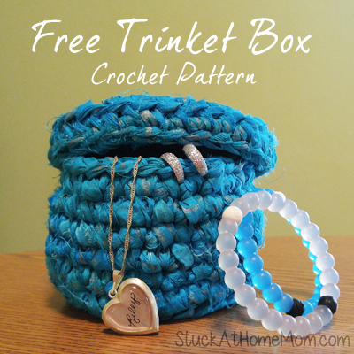 Free Trinket Box Crochet Pattern made with Indian Brushstroke Sari Silk