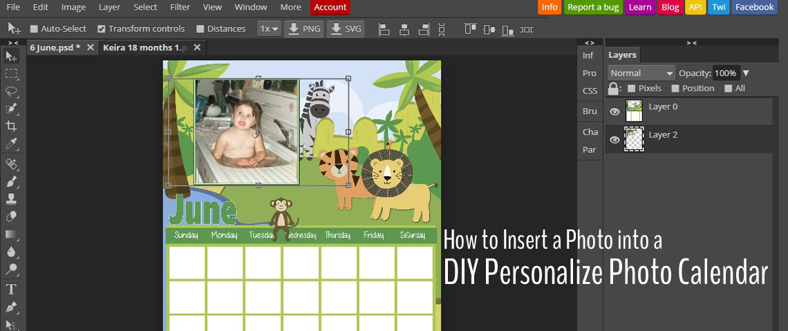 How to Insert a Photo into a DIY Personalize Photo Calendar (using photopea.com)