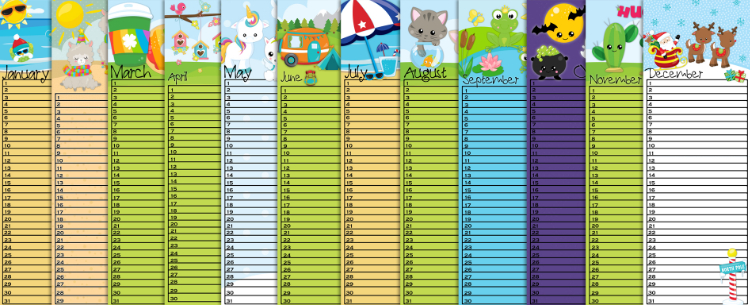 FREE Printable Forever Calendars Bookmark Size (pdf)
