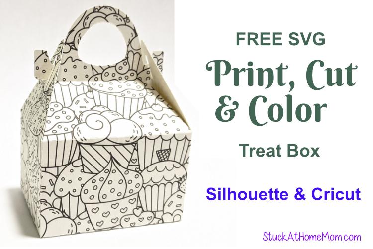 FREE SVG Print, Cut & Color Treat Box for Silhouette & Cricut (SVG & .studio3)