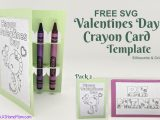 FREE SVG Valentines Day Crayon Card Template for Silhouette & Cricut (SVG & .studio3) Pack #2