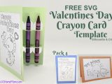 FREE SVG Valentines Day Crayon Card Template for Silhouette & Cricut (SVG & .studio3) Pack #4
