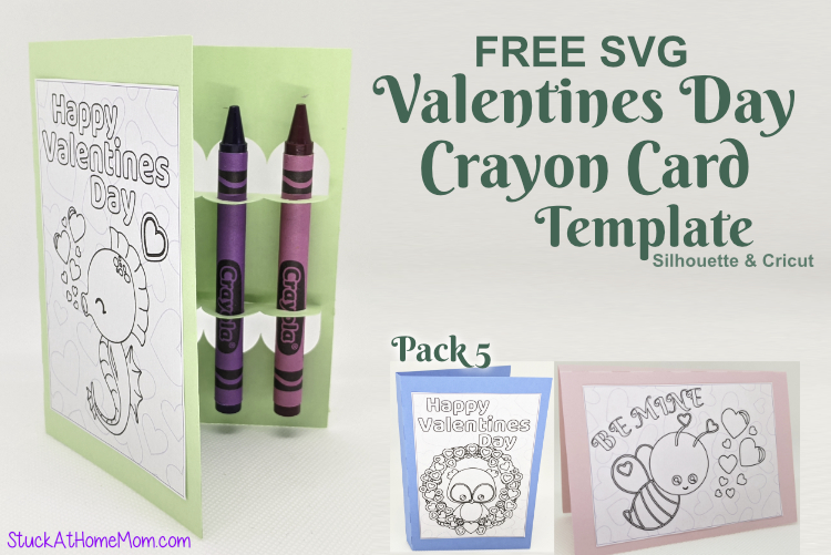 FREE SVG Valentines Day Crayon Card Template for Silhouette & Cricut (SVG & .studio3) Pack #5