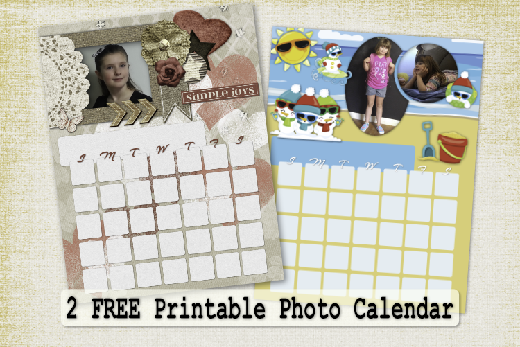 2 Free Printable Photo Calendar – Calendar Pack 3 with months in 3 fonts