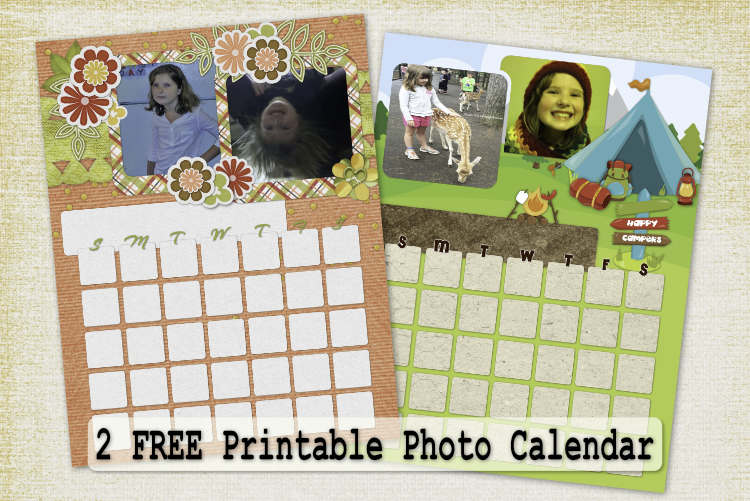 Free Printable Photo Calendar – Calendar Pack #4 with months in 3 fonts