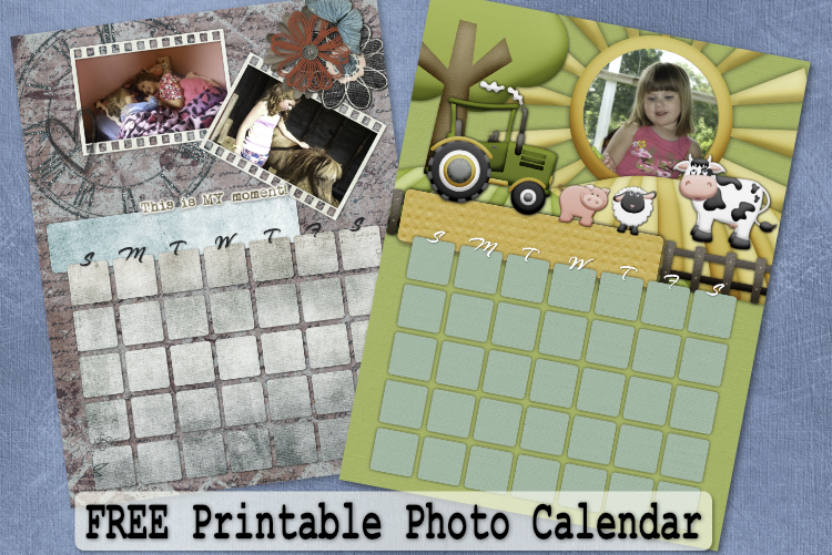2 Free Printable Photo Calendars .png Download with Directions