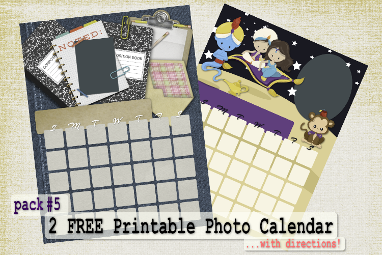2 Free Printable Photo Calendar – Calendar Pack 5 With Directions and Months in 3 Fonts